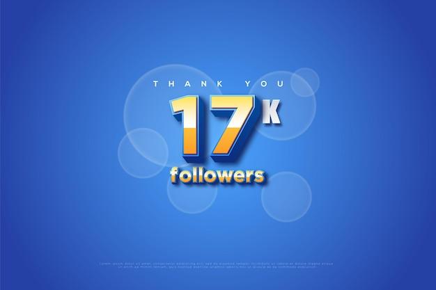 Obrigado 17 mil seguidores com luzes bokeh em fundo azul