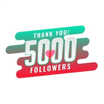 Obrigado 5000 design de modelo de seguidor de mídia social