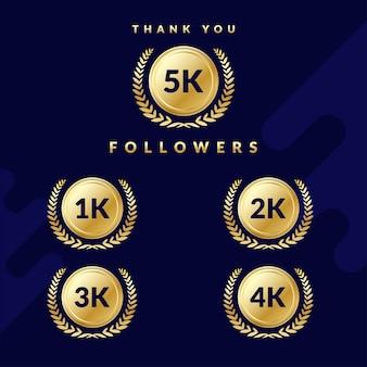 Obrigado 5k seguidores. conjunto de emblemas para seguidores de 1k, 2k, 3k ou 4k. design elegante