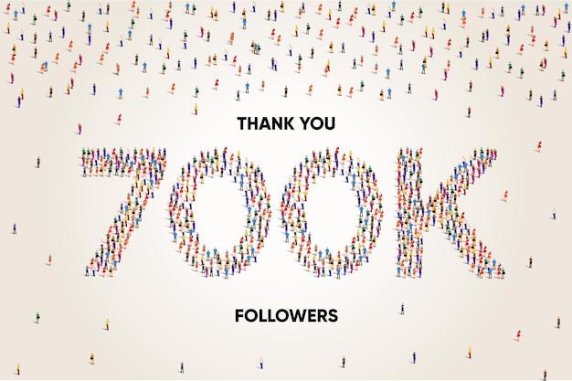 Obrigado 700k ou setecentos mil seguidores, um grande grupo de pessoas se forma para criar um vetor de 700k