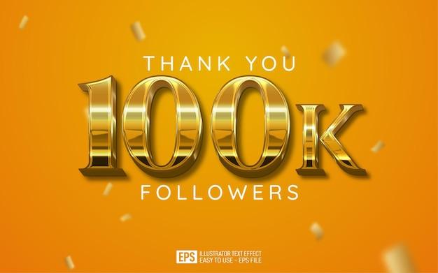 Obrigado a 100 mil seguidores em estilo de texto editável