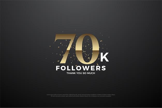 Obrigado a 70 mil seguidores com números e granulado de areia dourada