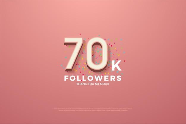 Obrigado a 70 mil seguidores com números e pequenos pedaços de fitas coloridas