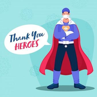 Obrigado ao médico de super-heróis usando o kit ppe sobre fundo azul pastel para combater o coronavírus ().