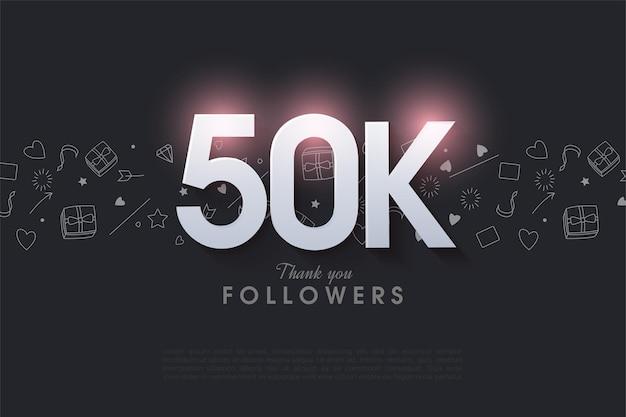 Obrigado aos 50 mil seguidores com a ilustração do número iluminada no topo.