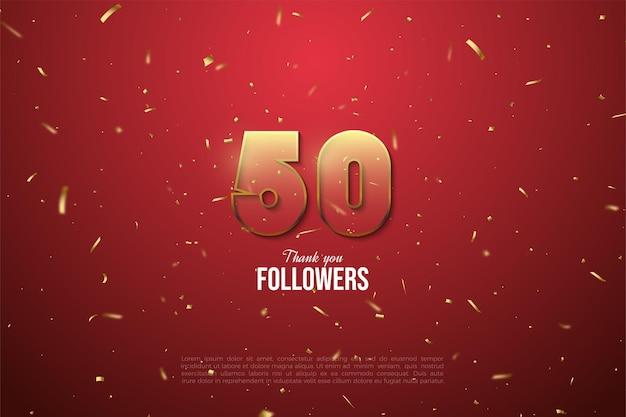 Obrigado aos 50 mil seguidores com figuras transparentes e bordas marrons em um fundo vermelho com manchas douradas.