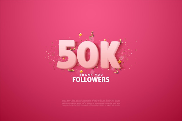 Obrigado aos 50 mil seguidores com números brancos suaves em um fundo rosa.