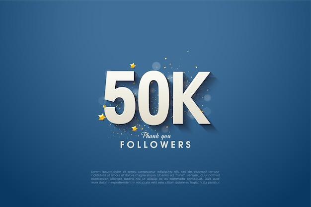 Obrigado aos 50 mil seguidores com os números sombreados no fundo azul marinho.