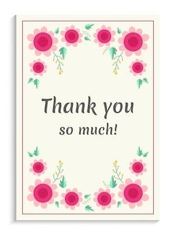 Obrigado bonito cartão design com flores cor-de-rosa. Vetor Premium