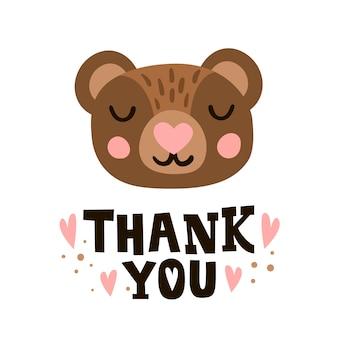 Obrigado. cabeça de urso e citação de mão romântica desenhada.