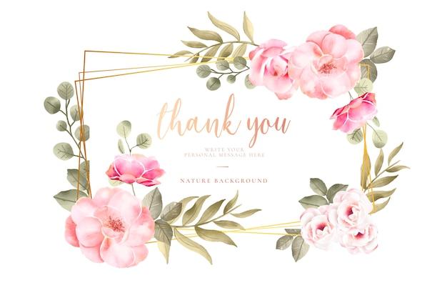 Obrigado cardar com flores da aguarela
