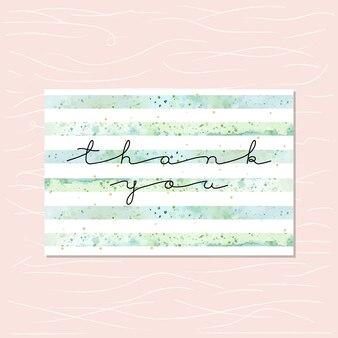 Obrigado cartão com listras verdes de aquarela