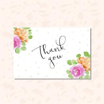 Obrigado cartão com pontos e moldura de aquarela floral