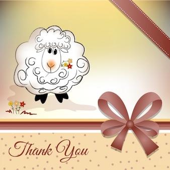 Obrigado cartão com uma ovelha e gravata