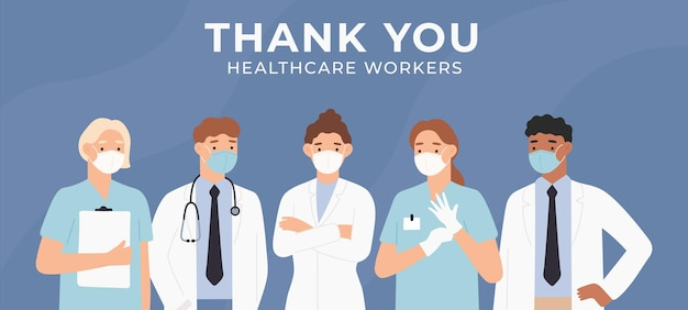 Obrigado cartão de médicos. bravos profissionais de saúde lutando contra surto de coronavírus em hospitais