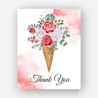 Obrigado cartão de modelo de cone rosa da aguarela