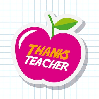 Obrigado cartão de professor grande festa de maçã rosa