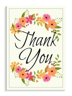 Obrigado cartão decorado com flores coloridas de aguarela.