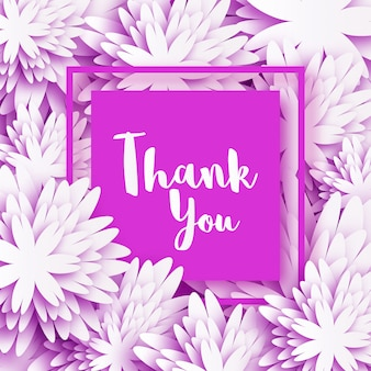 Obrigado. cartão floral primavera com flores brancas de origami.