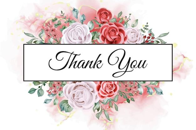 Obrigado cartão modelo rosa aquarela