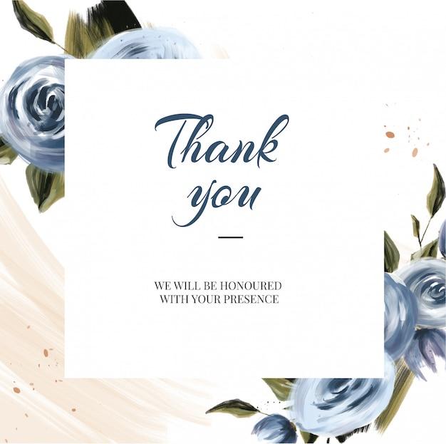 Obrigado cartões com flor
