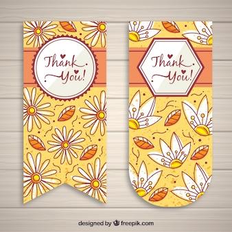 Obrigado cartões com flores desenhadas à mão