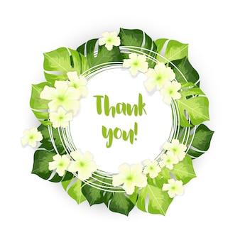 Obrigado círculo quadro de folhas verdes com flores brancas