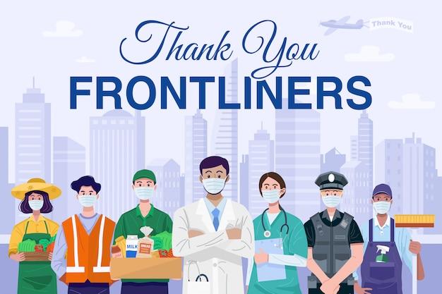 Obrigado conceito frontliners. várias ocupações pessoas vestindo máscaras.