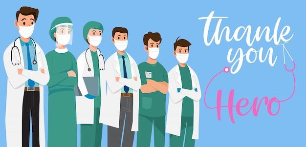 Obrigado, corajosos profissionais de saúde que trabalham na luta contra a infecção por coronavírus covid-19.