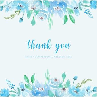 Obrigado de fundo aquarela flor azul cartão