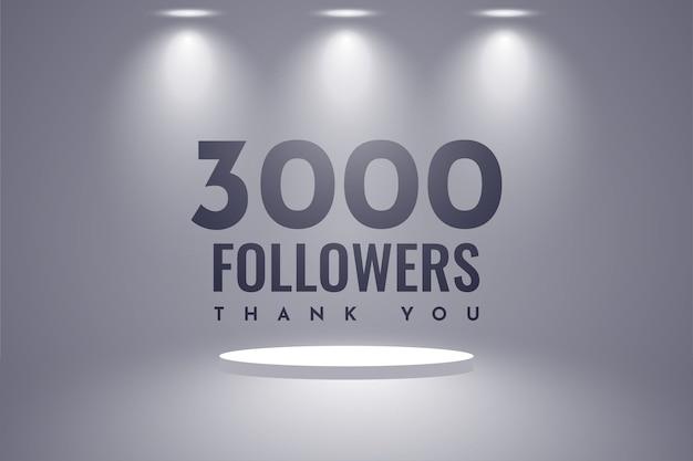 Obrigado desenho de modelo de ilustração de 3000 seguidores