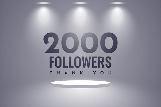 Obrigado design de 2.000 seguidores
