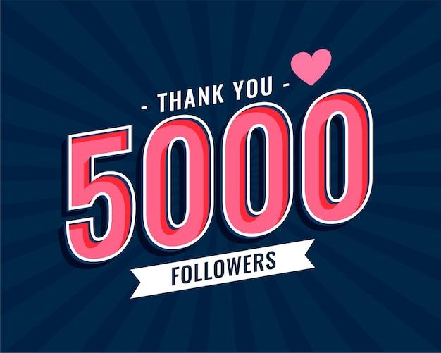 Obrigado design de modelo de 5000 seguidores de mídia social