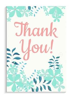 Obrigado design do cartão com flores coloridas.