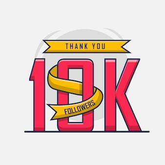 Obrigado design do modelo de 10 mil seguidores