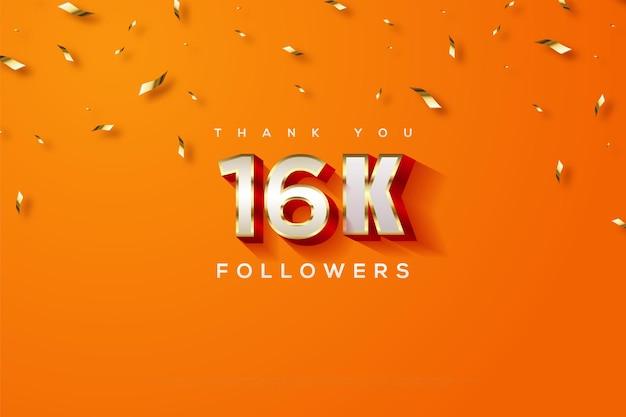 Obrigado dezesseis mil seguidores com um fundo laranja e uma chuva de fitas douradas