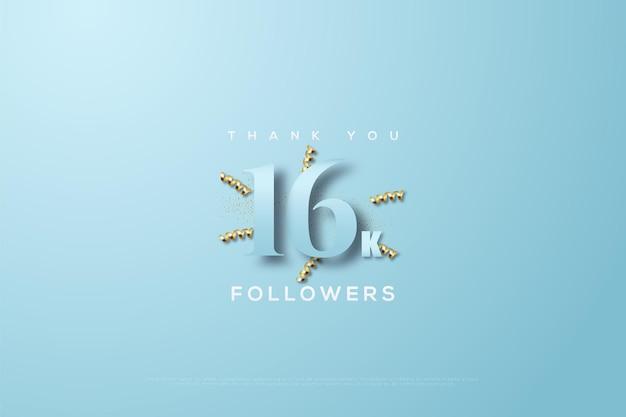 Obrigado dezesseis mil seguidores em um fundo azul com fitas douradas