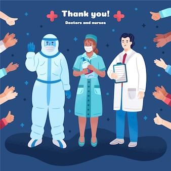Obrigado e aplaudindo os médicos da linha de frente