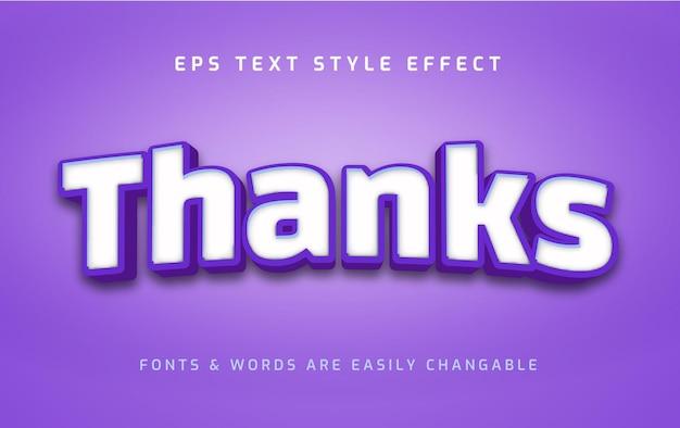 Obrigado, efeito de estilo de texto 3d em negrito e azul