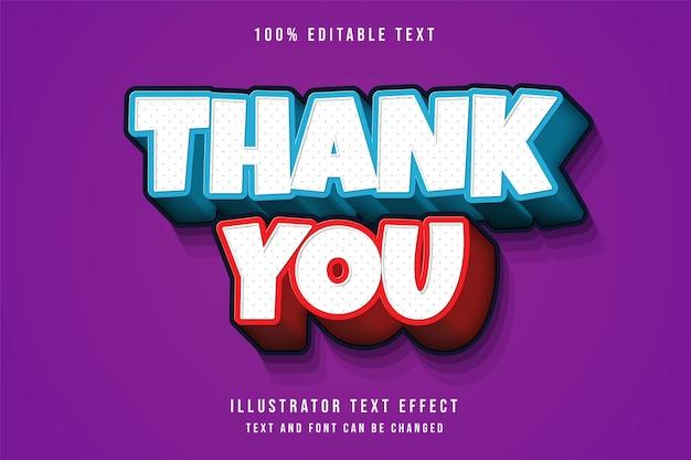 Obrigado, efeito de texto editável 3d gradação azul estilo de texto sombra cômica vermelha