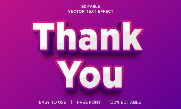Obrigado efeito de texto editável com vetor premium