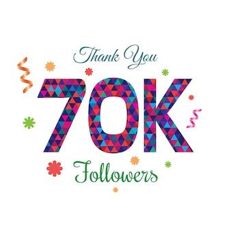 Obrigado followers modelo de design 70k