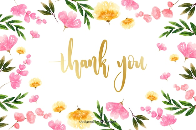 Obrigado fundo com decoração floral