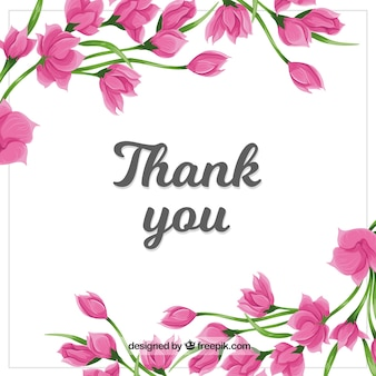Obrigado fundo com flores rosa