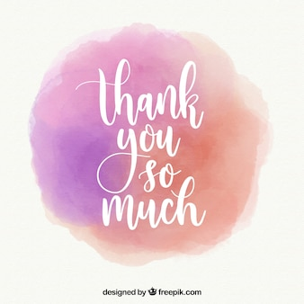 Obrigado fundo com letras em mancha de aquarela
