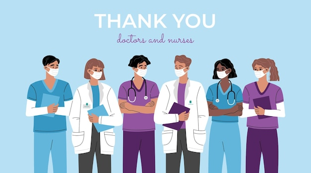 Obrigado, heróis, grupo de médicos, enfermeiras e equipe médica, trabalhadores da linha de frente da saúde. terapeuta profissional e equipe hospitalar. ilustração moderna da moda isolada em fundo azul