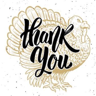 Obrigado. ilustração da turquia em fundo branco. tema de ação de graças. elemento para cartaz, cartão. ilustração