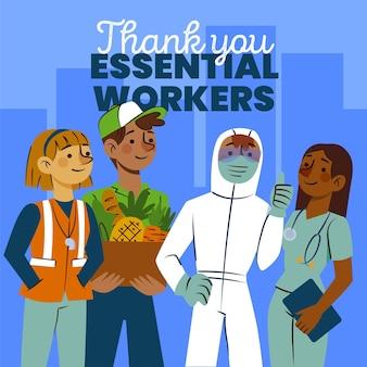 Obrigado, ilustração de trabalhadores essenciais