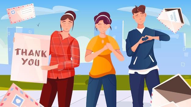 Obrigado, ilustração em estilo simples com grupo de jovens dobrando o coração de seus dedos