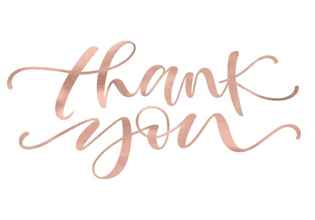Obrigado. letras com cor rosa de ouro na moda.